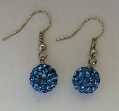 Cercei Shamballa cu Cristale Bleu