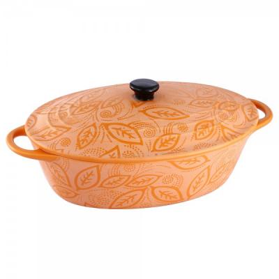 Cratita Ceramica Portocalie Ovala cu Capac 1.3L Vabene VB6020051