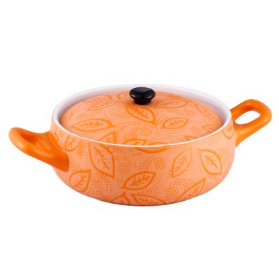 Cratita Ceramica Portocalie Rotunda cu Capac 2L Vabene VB6020057