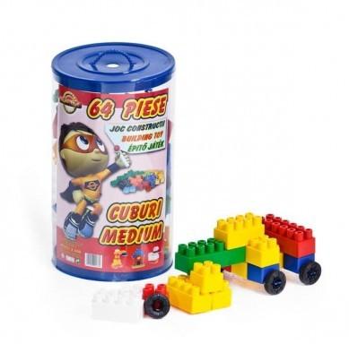 Set 64 Cuburi Constructie Colorate din Plastic