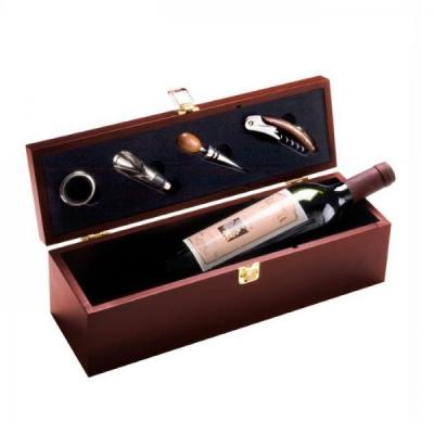 Cutie Cadou din Lemn Pentru Sticla Vin cu 4 Accesorii