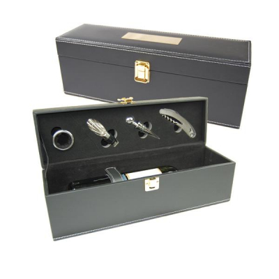 Cutie Cadou din Piele Pentru Sticla Vin cu 4 Accesorii
