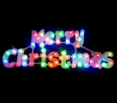 Decoratiune Agatatoare de Craciun Merry Christmas cu LEDuri Multicolore