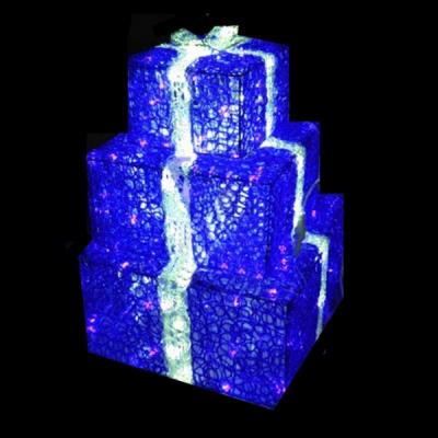 Decoratiune Luminoasa Set 3 Cadouri Craciun Albastre Acril 220V IP44