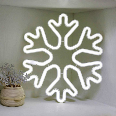 Decoratiuni Craciun Neon 2 Fete Fulg de Nea 40x40cm Alb Rece Luminos