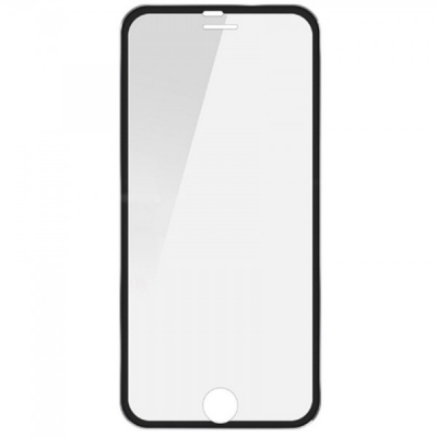 Folie Sticla Securizata Curbata 3D rama Metalica Negru Silver iPhone 6