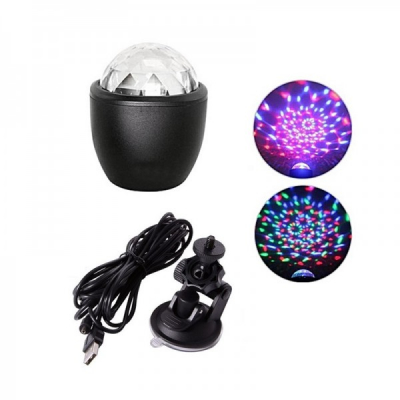 Glob Disco Lumini Interior Auto Ventuza si Alimentare USB Car DJ Light