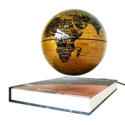Glob Pamantesc 14cm care Leviteaza pe Suport tip Carte Auriu