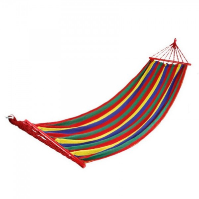 Hamac Curcubeu Textil 1 Persoana 2x0.80m cu Bare Lemn 100Kg
