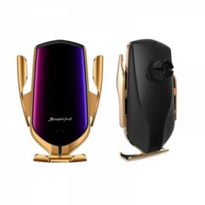 Incarcator Wireless Auto cu Senzor, Clema Grila Ventilatie Auriu R1