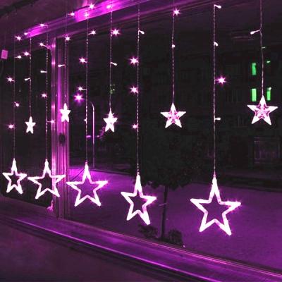 Instalatie Ghirlanda Perdea 12 Stele Luminoase Mov 3x1m P FI