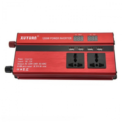 Invertor Auto 12V 1200W cu Display LCD, 4 Iesiri USB, 2 Prize XuYuan