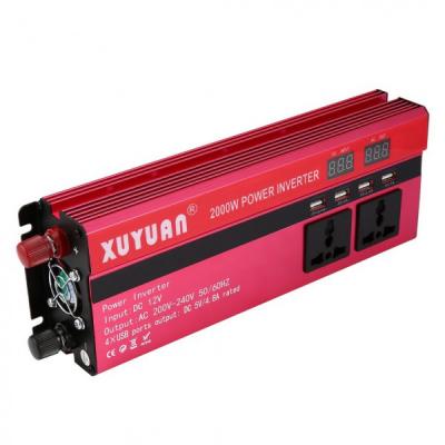 Invertor Auto 12V 2000W cu Display LCD, 4 Iesiri USB, 2 Prize XuYuan