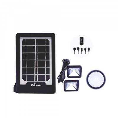 Kit Solar cu Lanterna LED, 2 Becuri si Slot USB GSM CL08
