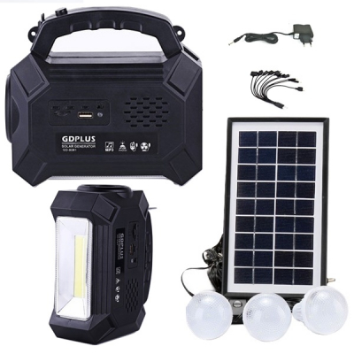 Kit Solar Lanterna LED Radio FM USB SD 3 Becuri 4V4Ah GDPlus GD8161