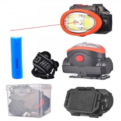 Lanterna Frontala 2xCOB LED 3W, Raza Laser Rosu, 1x18650, 220V 0520