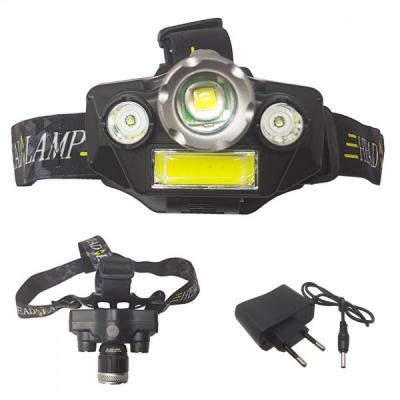 Lanterna Frontala 3LED+COB 3W Zoom, Acumulator 18650, 220V BLT42T6