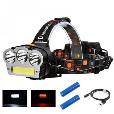 Lanterna Frontala 3W 3LED+COB LED Alb Rosu 2x18650 Slot USB MINGHUO