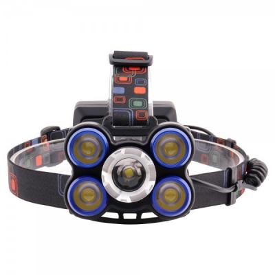 Lanterna Frontala 5LED 5W cu Zoom 2x18650 USB MH1175