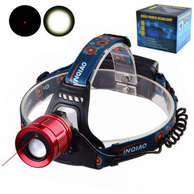 Lanterna Frontala LED 3W Raza Laser Rosu Zoom 2x18650 220V INQIAO