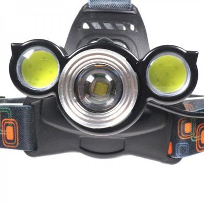 Lanterna Frontala LED+2 COB 5W, Zoom, Acumulatori 12V 220V MINGHUO