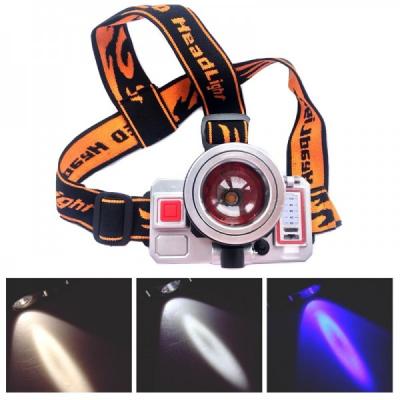 Lanterna Frontala Zoom Comutator LED 3W Alb Rece, Cald, Albastru MHT10