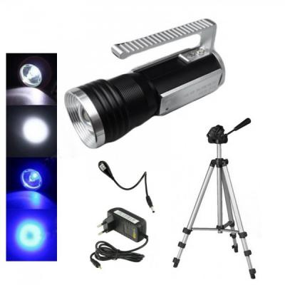 Lanterna LED 8W Alb Albastru cu Zoom si Trepied 220V S33