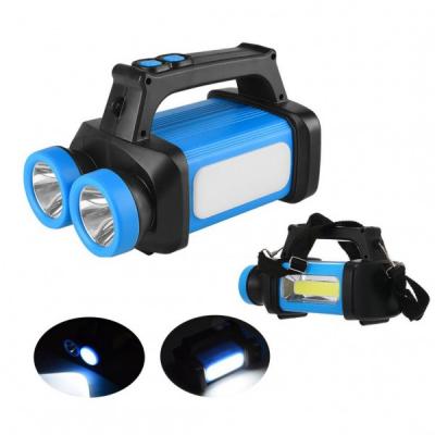 Lanterna LED Dubla 1W si COB cu Acumulator Incarcare la USB HX8802A