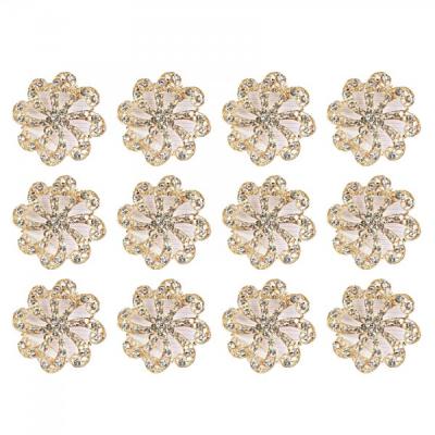 Martisoare 1 Martie Set 12 Brose Floare Aurie cu Cristale Argintii