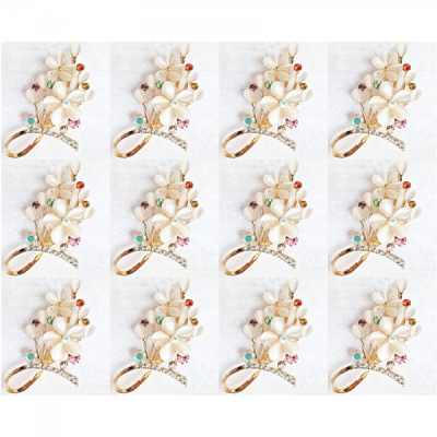 Martisoare 1 Martie Set 12 Brose Flori Aurii cu Pietre tip Clestar