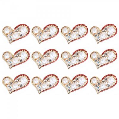 Martisoare 1 Martie Set 12 Brose Inima cu Cristale Rosii si Perle