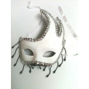 Masca de Carnaval Alba cu Ciucuri