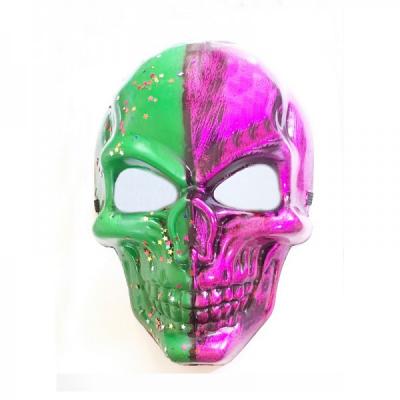Masca de Halloween si Carnaval Craniu Verde Roz cu stelute