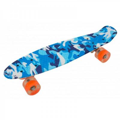 Penny Board cu Roti Silicon 55x15cm SB2406 JU Camuflaj Blue