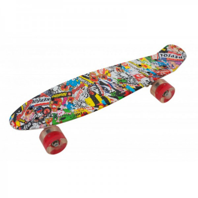 Penny Board cu Roti Silicon 55x15cm SB2406 JU Skull Red Wheel