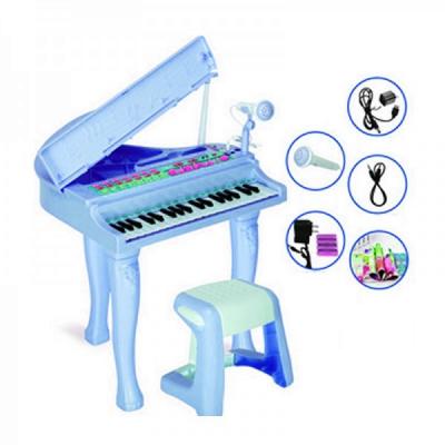 Pian de jucarie electronic microfon si scaun CV8818204 37 Clape Albastru