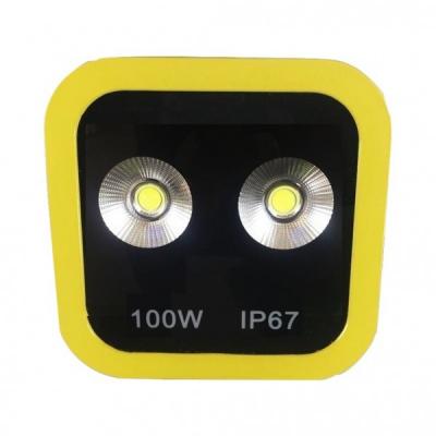 Proiector LED 100W Alb Rece 220V 2x50W Rama Galbena
