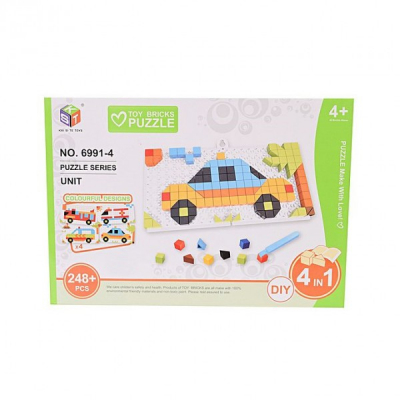 Puzzle 3D Educativ Copii 4in1 cu Masinute Toy Bricks 69914