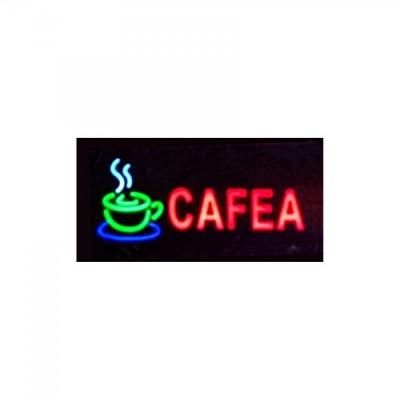 Reclama Luminoasa cu LEDuri tip Caseta Neon Cafea 48x25cm