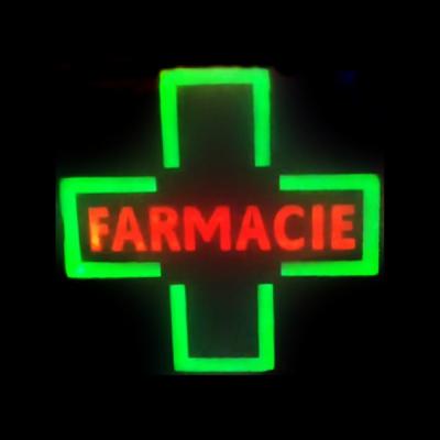 Reclama Luminoasa cu LEDuri tip Caseta Neon Cruce Farmacie 48x48cm