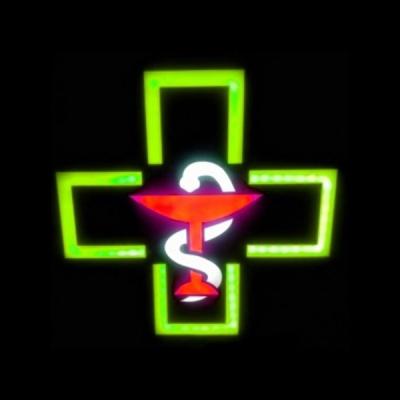 Reclama Luminoasa cu LEDuri tip Caseta Neon Farmacie cu Sarpe 48x48cm