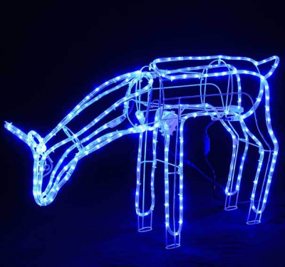 Reni de Craciun 3D cu Furtun Luminos LEDuri Albastre CL