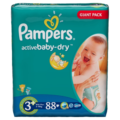 Scutece Pampers Active Baby 3+ 5-10Kg 88 bucati