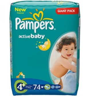 Scutece Pampers Active Baby 4 Maxi Plus 74 bucati