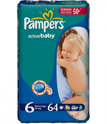 Scutece Pampers Active Baby 6 ExtraLarge 64 bucati