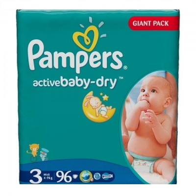 Scutece Pampers Active Baby Dry 3 Midi 96 bucati 4-9Kg