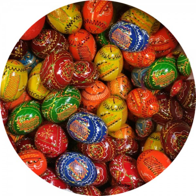 Set 10 Oua Pasti din Lemn Vopsite si Incondeiate Diverse Culori