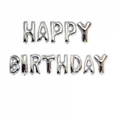 Set 13 Baloane Jumbo 40cm din folie metalizata Argintie Happy Birthday