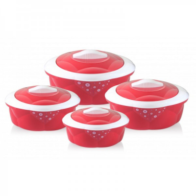 Set 4 Caserole Termos Plastic si INOX  600-3200ml Grunberg GR2970