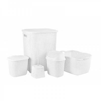 Set 5 Cosuri si Accesorii Plastic Baie Tuffex TP4003 Alb JU